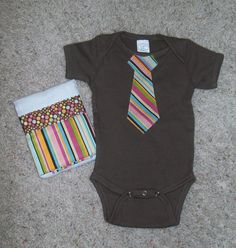 4ac294861339f Items similar to Baby/Infant Boy Appliqued Tie Onesie and Matching Burp  Cloth on Etsy