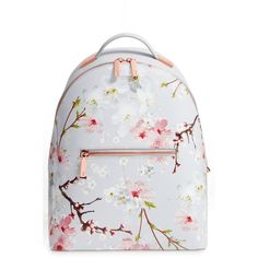 Women's Ted Baker London Flower Print Leather Backpack (15.420 RUB) ❤ liked on Polyvore featuring bags, backpacks, light grey, backpack bags, genuine leather backpack, flower print backpack, ted baker and floral print backpack