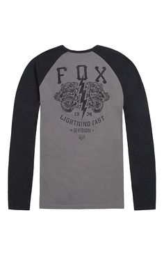 A PacSun.com Online Exclusive! PacSun presents the Fox Lightning Fast Long Sleeve T-Shirt for men. This two tone men's t-shirt comes with some contrast raglan sleeves, premium slim fit, and Fox graphic on the chest.	Two tone tee with Fox graphic on front and back	Crew neck	Long sleeves	Premium slim fit	Machine washable	100% cotton	Imported