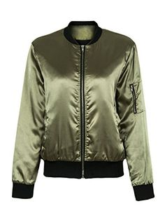 6ffe220f7e06e2 Choies Women Classic Army Green Zip Up Quilted Lining Vintage Flight Bomber  Jacket S