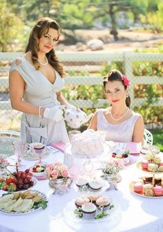 inspired Pin Up Girl Bridal Shower Tea Party. Cheri's Vintage Table - Home Tea Party Outfits, Bridal Outfits, Bridal Shoes, Bridal Jewelry, Tea Party Menu, Ladies Luncheon, Shower Outfits, Afternoon Tea Parties, Tea Party Bridal Shower