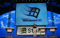 """Launch day: Bill Gates introduces Windows95.  Working at Digital Pictures, I had ported the """"Double Switch"""" game's video engine to Windows 95."""