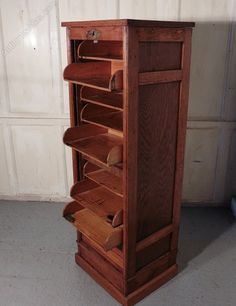 French Tambour Golden Oak Art Deco Filing Cabinet - Antiques Atlas