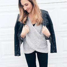 cozy grey wrap sweater on Belle Vie