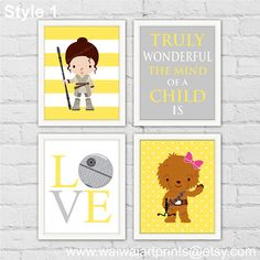 Rey Star Wars Girl Nursery Decor. Chewbacca by waiwaiartprints