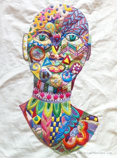 Julie's hand stitched face