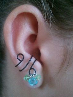 Cute for teens!! Black Ear Cuff with Blue and Green Swarovski by TheCottageCharm, $3.00