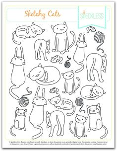 Sketchy Cats Embroidery Pattern - free from Heidi at Speckless