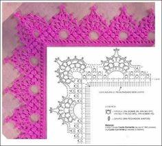 *** Crochet Crochet Boarders, Crochet Edging Patterns, Crochet Lace Edging, Crochet Motifs, Crochet Designs, Crochet Doilies, Crochet Flowers, Crochet Girls, Crochet Home