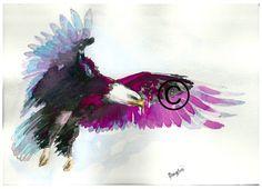 Art Original Watercolor Animals Pets Eagle by ArtistaToscana Eagle Artwork, Bird Artwork, Watercolor Animals, Watercolor Paintings, Watercolor Tattoos, Watercolour, Eagle Tattoos, Tatoo Art, Hippie Art