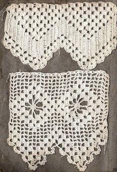 Toalhas de mesa bordadas e com renda | ... Prazer de uma Boa Leitura: Modelos de bico de crochê. Lindos Filet Crochet, Crochet Hats, Diy And Crafts, Arts And Crafts, Crochet Table Runner, Rock Art, Lace Shorts, Tatting, Cute Outfits