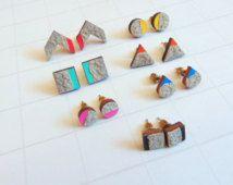 Gioielli geometrico cemento orecchini, orecchini geometrici,