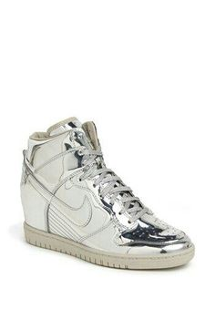 sports shoes 0ef26 c0604 Nike Dunk Sky Hi Hidden Wedge Sneaker (Women) Womens Metallic Silver  White M