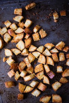 Homemade Croutons - I just made these and its going to be almost impossible to not eat them all as a snack as I'm typing this. This is bay FAR the best use for stale bread since they invented ducks. Tasty Dishes, Food Dishes, Side Dishes, How To Make Croutons, New Recipes, Cooking Recipes, Crouton Recipes, Homemade Croutons, Tummy Yummy
