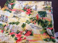 2m x 110cm   wide piece of printed cotton with a florida summer beach theme ..
