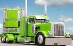 Electrifying look to this custom Peterbilt. Nicely done, with matching Reefer trailer.
