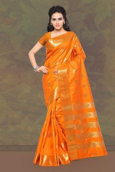 Lovely Orange Banarasi Silk Saree.
