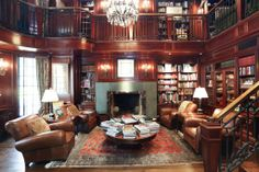 Imagine a two story mahogany library and study. Exquisite paneling, bookshelves galore, another fireplace. Warm and elegant - a gentleman's retreat at its finest.