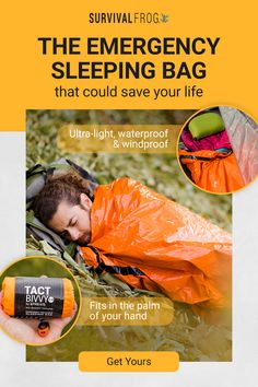 This lightweight sleeping bag can be used by itself or act as a liner for your regular sleeping bag and keep you comfortable through the night. The Tact Bivvy® is made of ultra-light HeatEcho® material which is waterproof and windproof, so you'll be warm Wilderness Survival, Camping Survival, Outdoor Survival, Survival Prepping, Survival Skills, Survival Gear, Camping Hacks, Conquistador, Emergency Supplies