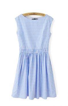 Bule White Grids Printing Elastic Waist Pleating Sleeveless Dress