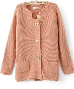 Wholesale Graceful & Trendy Pure Color Long Sleeve Pockets Sweater----Pink  top dresses