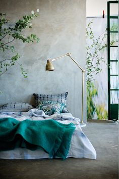 bedroom. beton en teal …