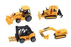 ToyZe® 5 Inch Metal Diecast Construction Vehicle Set, Bulldozer, Forklift, Front Loader Tractor, And Excavator. 4 Pack (Ages 3+)           $ 16.99 Play Vehicles Product Features Toyze® 5 Inch Metal Diecast Construction Vehicle Set, Bulldozer, Forklift, Front Loader Tractor, And Excavator. 4 Pack 4 Large size 5 Inch Quality Construction Vehicles made of die cast metal and other materials. Make your own construction site, A complete construction site in a box, just add some dir..