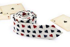 Poker Tie /  Men's Spades White skinny tie / Wedding Ties / Necktie for Men FREE GIFT by TheBestBoysTies on Etsy