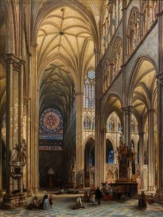 Interior of the Cathedral of Amiens, a painting by Jules Victor Génisson (1842).