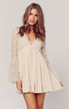 Free People With Love From India Cream Lace Bell Sleeve Babydoll Dress M 8 10 Boho Outfits, Cute Outfits, California Outfits, Light Dress, Casual Dresses, Summer Dresses, Boho Fashion, Womens Fashion, Babydoll Dress