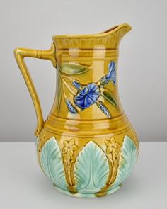 Antique morning glory majolica pitcher: