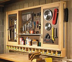 sliding-door pegboard cabinet woodworking plan