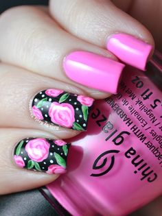 34 new Ideas for nails art printemps rose Art Rose, Rose Nail Art, Floral Nail Art, Rose Nails, Flower Nails, Floral Artwork, Pretty Nail Designs, Nail Art Designs, Nagel Gel