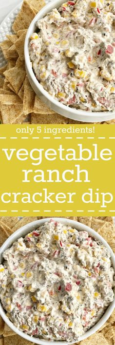 Vegetable ranch cracker dip is filled with corn, olives, red pepper, cream cheese, and ranch seasoning mix! So creamy, easy to make, and packed with flavor. Great for a bbq, party, or appetizer.