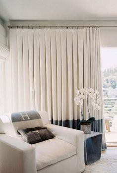 Paint stripes on the curtains the same color as the walls. #CurtainsIdeasHomemade | Curtains Ideas Homemade | Pinterest | Paint stripes Bathroom curtains ... & Paint stripes on the curtains the same color as the walls ...
