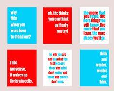 Set of Six 8x10 Dr. Seuss Quote Nursery/Playroom/Child Room Prints