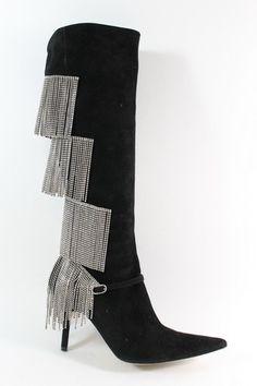 CHRISTIAN LACROIX  http://www.ebay.com/itm/CHRISTIAN-LACROIX-Blk-Suede-Rhinestone-Fringe-Knee-High-Boots-37-5-7-5-2615-BOX-/200830762522?pt=US_Women_s_Shoes=item2ec2723e1a