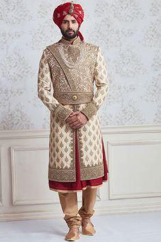 Buy Beige Zari Embroidered Raw Silk Wedding Sherwani Online