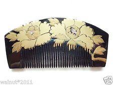 New Japanese Hair Comb Kushi Black Makie Flowers Raden 4.5inch