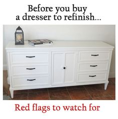 Red flags to look for in a dresser when buying a dresser to refinish or paint