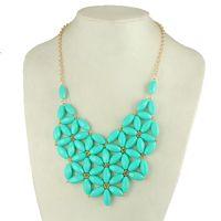 Resin Bib Necklace - Turquoise