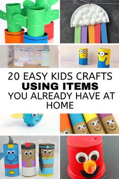 Kid Friendly crafts don't have to be expensive! You can make these 20 fun & affordable crafts at home using things you already have laying around. Recycled Crafts Kids, Easy Crafts For Kids, Crafts To Do, Home Crafts, Arts And Crafts, Paper Towel Tubes, Diy Projects Cans, Fun Activities To Do, Kids House