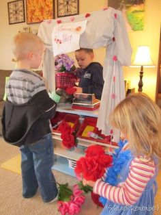 flower shop for valentines day - I do this for all of February and it is always a BIG hit! We add literacy by having kids write note cards and fill out order forms. They just love it!