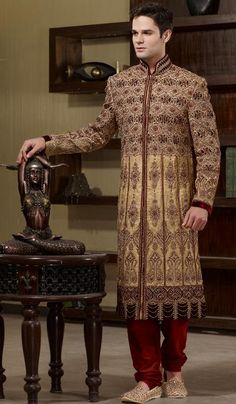 G3 fashions Golden Brown Brocade Embroidered Sherwani  Product Code : G3-MSH10000100 Price : INR RS 127260