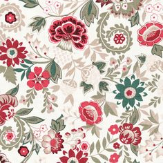 Tapestry Flowers Cream Cotton Fabric