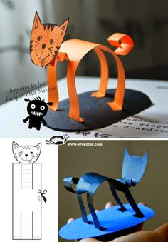 Paper animals 4 diy for kids, projects for kids, crafts for kids, paper Kids Crafts, Cat Crafts, Animal Crafts, Projects For Kids, Halloween Crafts, Diy For Kids, Art Projects, Arts And Crafts, 4 Kids