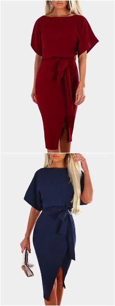 Short Sleeves Splited Hem Midi Dress