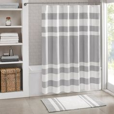 Madison Park Spa Waffle Weave 3M Scotchgard Fabric Shower Curtain, Grey