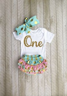 Mint and gold first birthday outfit - One year old outfit - Baby girl first…