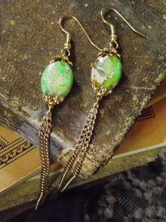 Pinners get 10% off from my Etsy shop! Use the code PIN10 at checkout. Yellow & Green Aqua Terra Jasper Gold Chain #Earrings by KMagnifiqueDesigns, $20.00